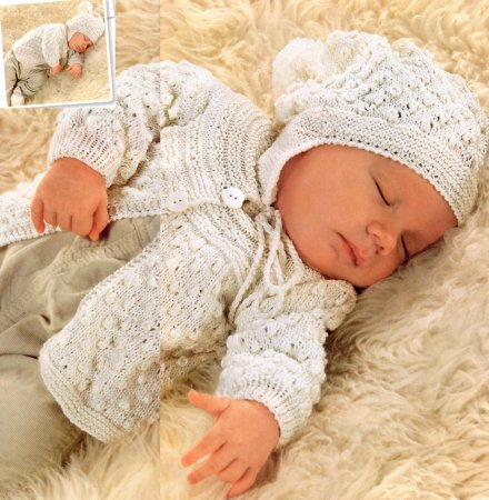 комплект одежды на лето  для новорожденного связаный спицами фото