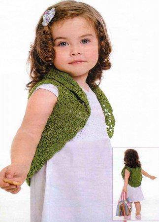 Вязаное болеро спицами для девочки фото