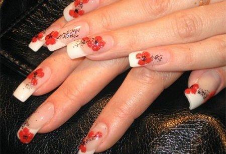 Рисунки на нарощенных ногтях – фото, варианты дизайна, стилистическое оформление.