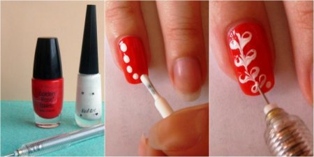 Рисунки на ногтях иголкой – фото