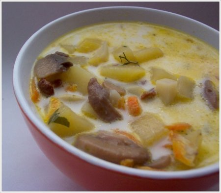 Суп из вешенок фото