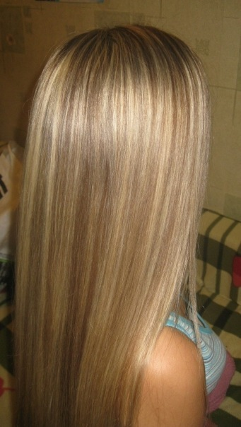 Частое мелирование на русые волосы фото
