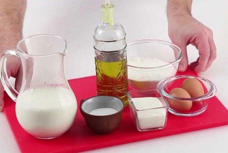 Ингредиенты для приготовления блинов фото